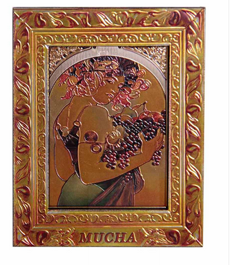 Magnet MDF Goldrahmen Girl with fruit